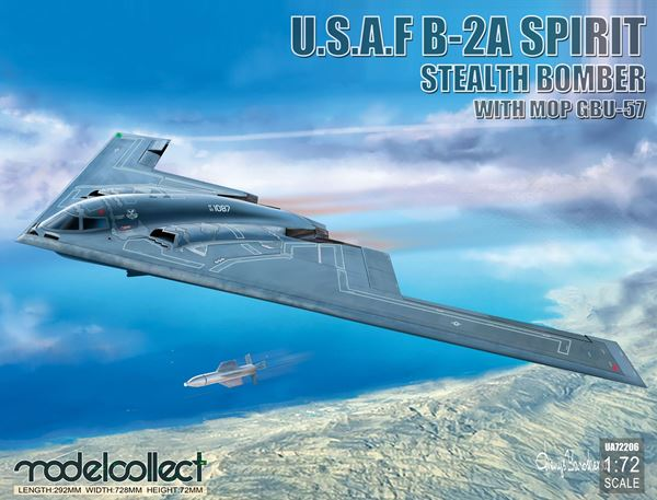 Picture of USAF B-2A  Spirit Stealth Bomber with Mop GBU-57
